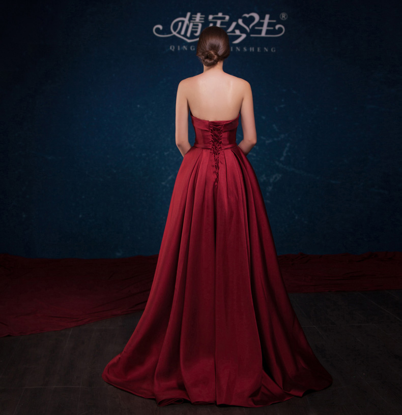 欧式复古酒红色晚礼服服
