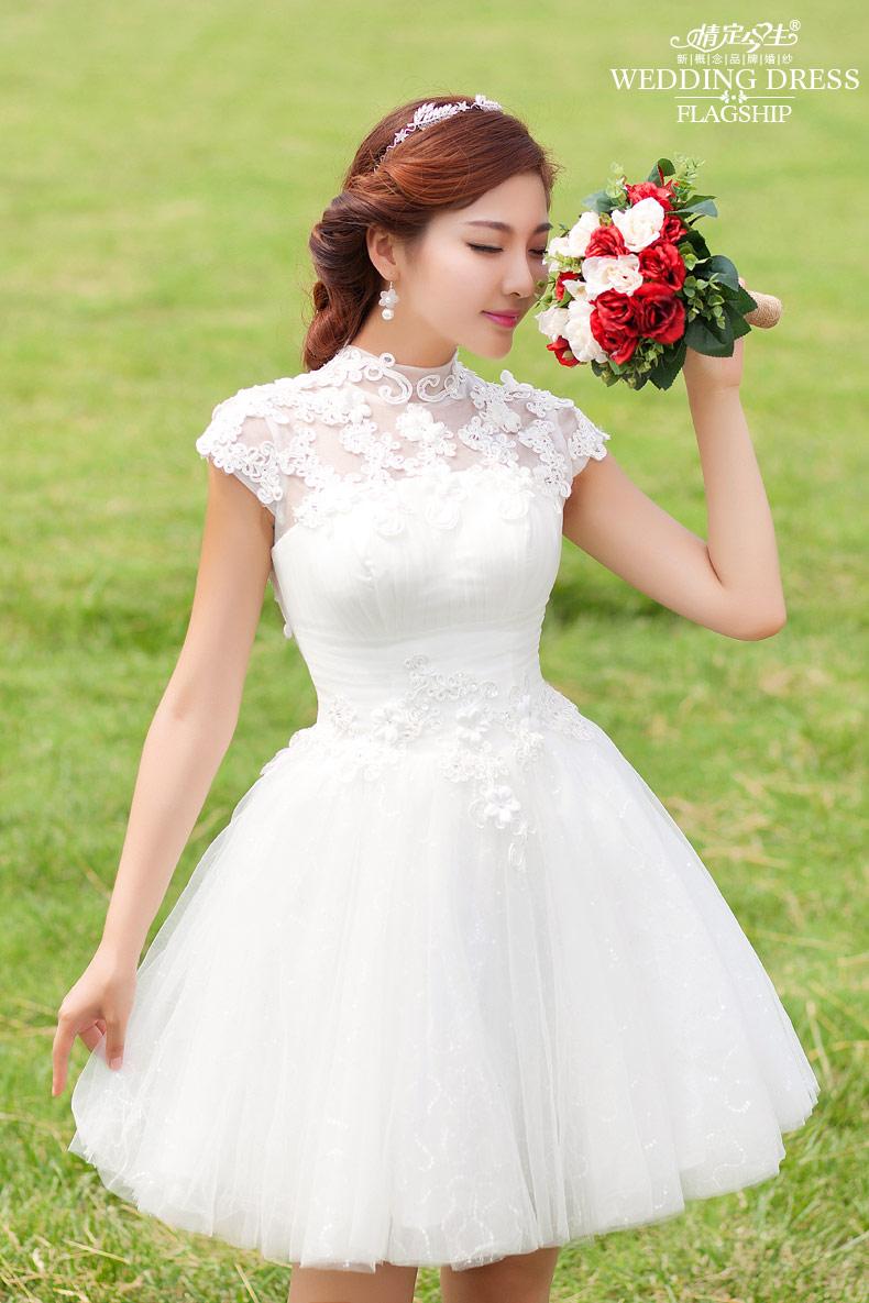 婚纱礼服 新款2015短款韩版婚纱 新娘婚纱礼服一字肩伴娘小礼服裙