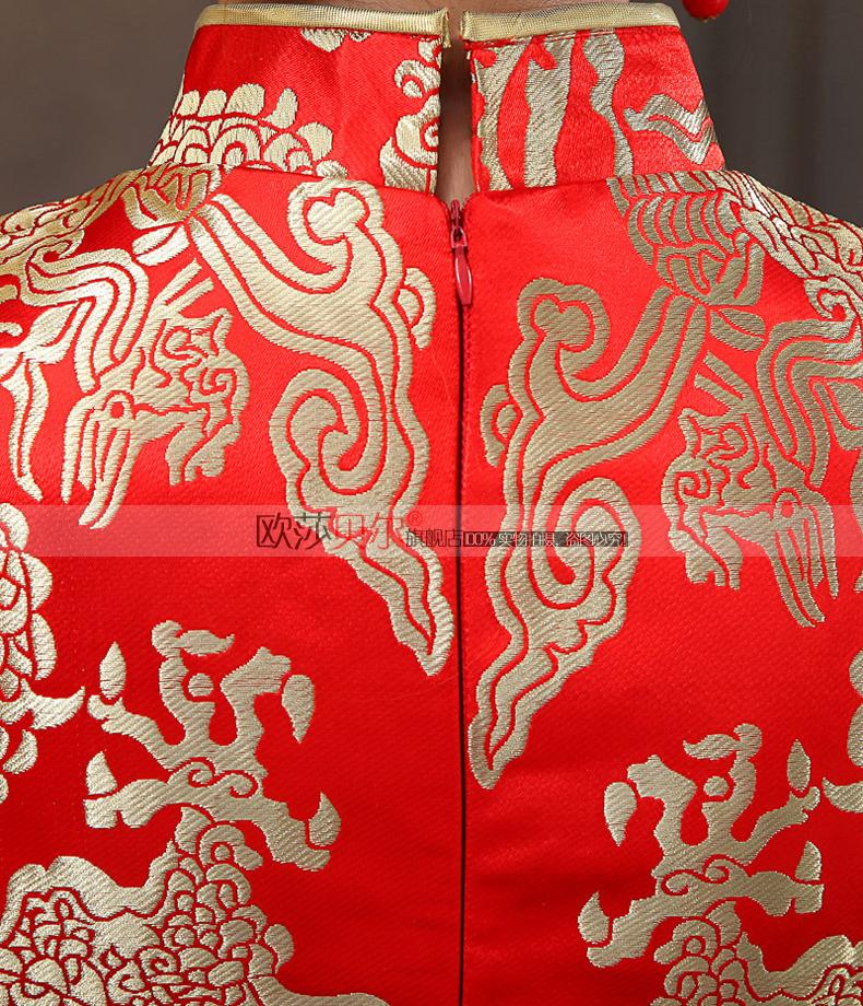 2015新款旗袍裙新娘结婚改良时尚中式礼服复古鱼尾修身长款旗袍春