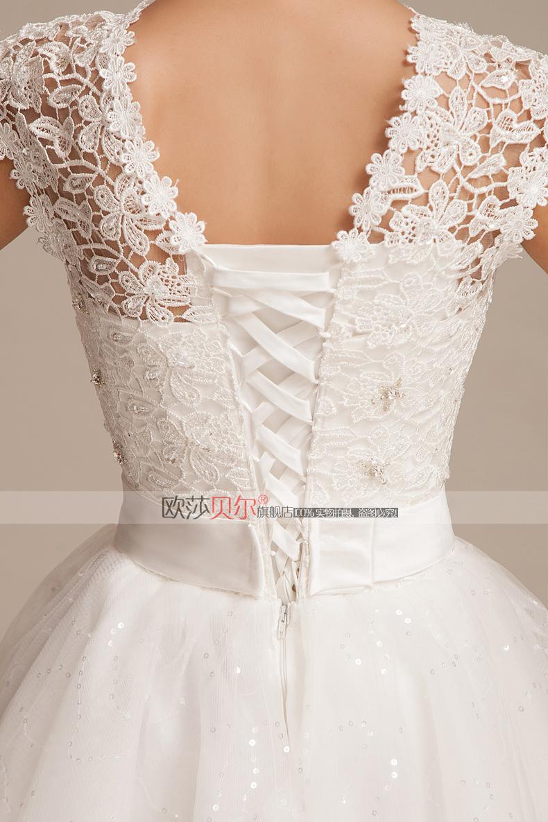 优雅蕾丝短款婚纱韩版可爱公主蓬蓬裙新娘结婚纱一字